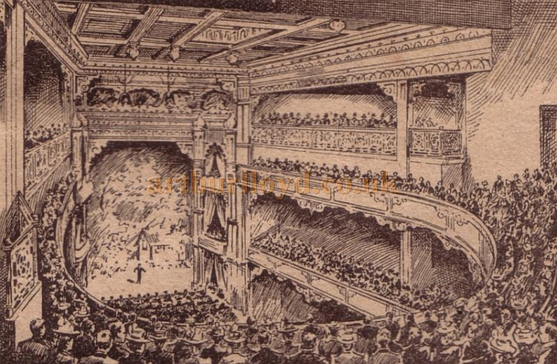 The auditorium of the Holloway Empire - From a programme for a Music Hall show at the Theatre for the week beginning 29th of August 1904.