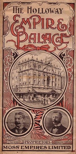 A programme for a Music Hall show at the Holloway Empire Palace Theatre for the week beginning 29th of August 1904.