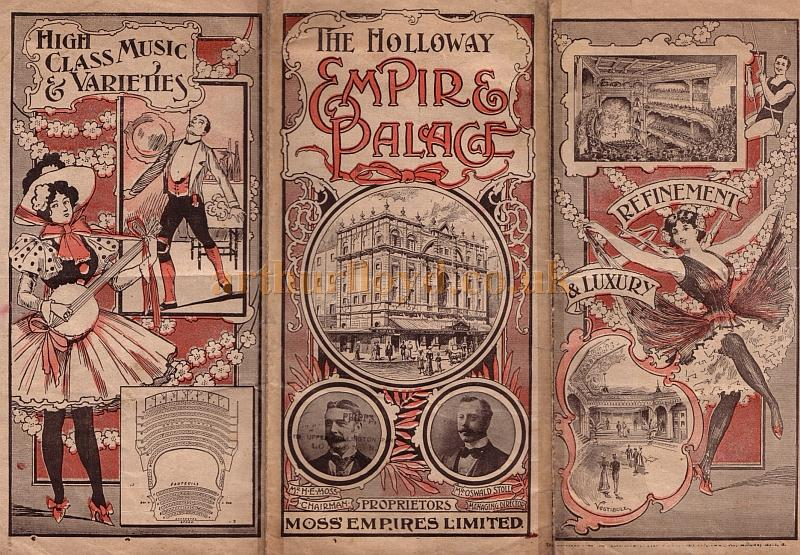 programme for a Music Hall show at the Holloway Empire Palace Theatre for the week beginning 29th of August 1904.