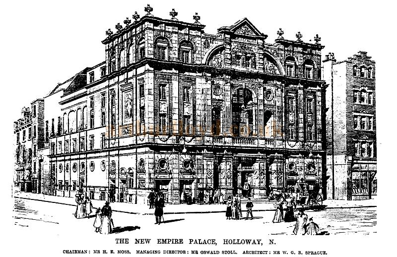 A sketch of the New Empire Palace Theatre, Holloway - From the ERA, 2nd of December, 1899.