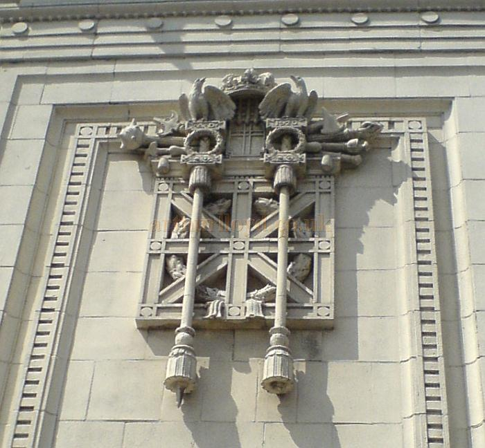 A Detail of one of the crests on the Facade of the former Grand Picture Theatre, Huddersfield in May 2010 - Courtesy Charles Bowman