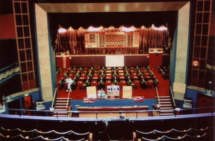The Stage of the Huddersfield Palace during its Bingo years in 1985 - Courtesy Ted Bottle