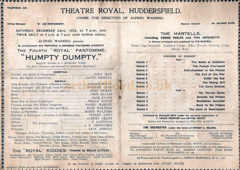 A page from a Programme for the Pantomime 'Humpty Dumpty' staged at the Theatre Royal, Huddersfield in December 1922 - Courtesy Alison Young