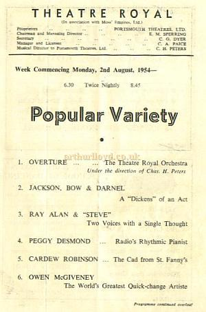A Programme for twice nightly variety at the Theatre Royal, Portsmouth in August 1954 - Courtesy Alan Chudley.