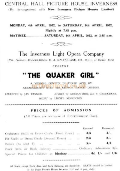 A Bill for 'The Quaker Girl' at the Central Picture House, Inverness in April 1932 - Courtesy Alan Chudley.