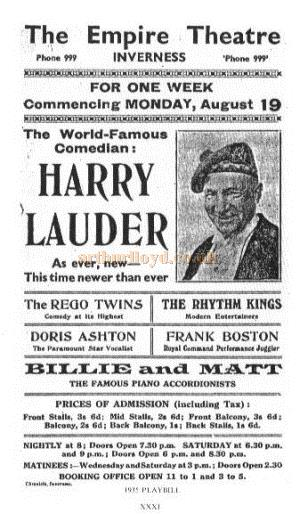 A page from a programme for Harry Lauder performing at the Empire Theatre, Inverness - Courtesy Alan Chudley.