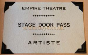 Derek Mathieson's Stage Door Pass for the Final Night of the Empire Theatre, inverness in 1970.