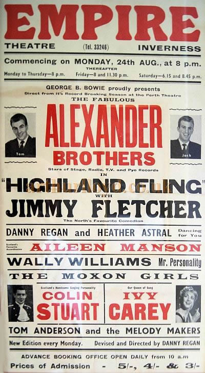 A Poster for the Alexander Brothers at the Empire Theatre, Inverness for August 1964 - Courtesy Derek Mathieson.