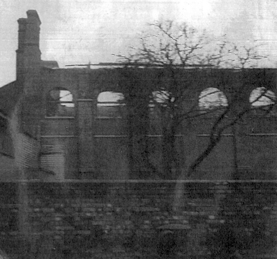 A photograph of the remains of the Ipswich Public Hall after the fire in 1948 - Ipswich Record Office.