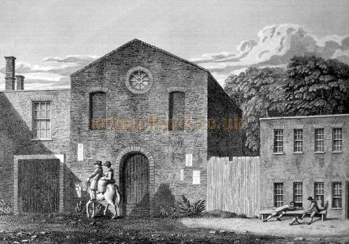 An engraving by Robert Wilkinson of the early 18th century Theatre, Tankard Street, which the Theatre Royal replaced in 1803.