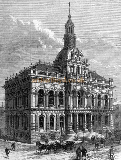 An engraving showing the new Ipswich Town Hall - From the ILN, 8th February 1868.