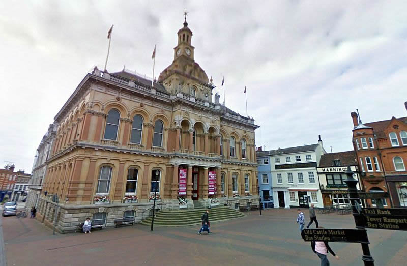 A Google StreetView Image of the Ipswich Town Hall and Corn Exchange - Click to Interact