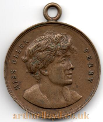 A 35mm medal featuring Henry Irving and Ellen Terry, originally from the Henry Magee Collection - Courtesy the present owner Alan Judd.