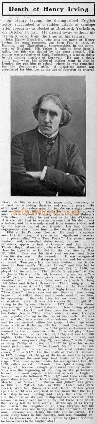 Henry Irving's Obituary - The Theatre Magazine Advertiser, October 1905.