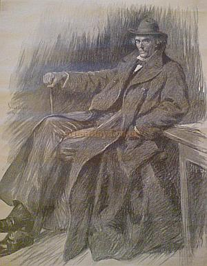 A Sketch of  Harry Irving, Henry Irving's son, by Sir Bernard Partridge, and signed by Harry Irving - Courtesy Evonne Randall whose Great Grandfather John Albert Wilson worked at the Theatre Royal, Bradford as a Stage Hand and Bill Inspector until his early death in 1928.