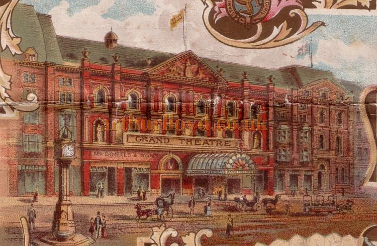 A watercolour of the Grand Theatre, Isle of Man - From a programme for 'A Runaway Girl' at the Theatre on the 16th of September 1901