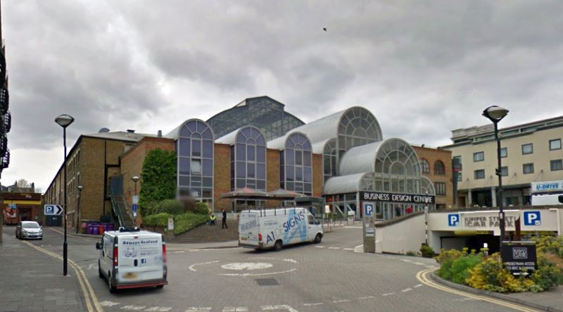 A Google StreetView Image of the Business Design Centre, formerly the Agricultural Hall, Islington - Click to Interact