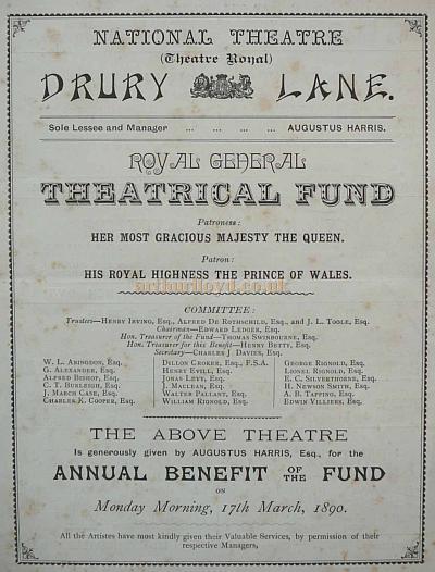 A Drury Lane Royal General Theatrical Fund Benefit Programme for the 17 Mar 1890.