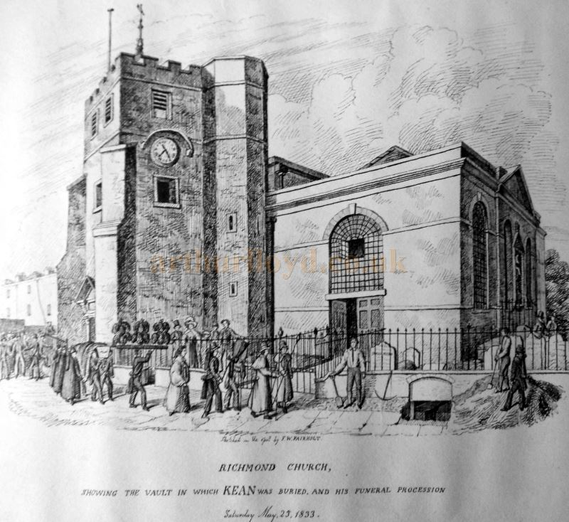 A Sketch showing the St. Mary Magdalene Church in Richmond where Edmund Kean was buried on Saturday the 25th of May 1833.