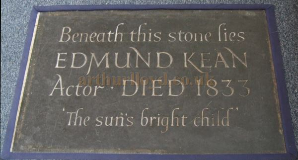 Edmund Kean's Burial Stone at the St. Mary Magdalene Church in Richmond - Courtesy BF.