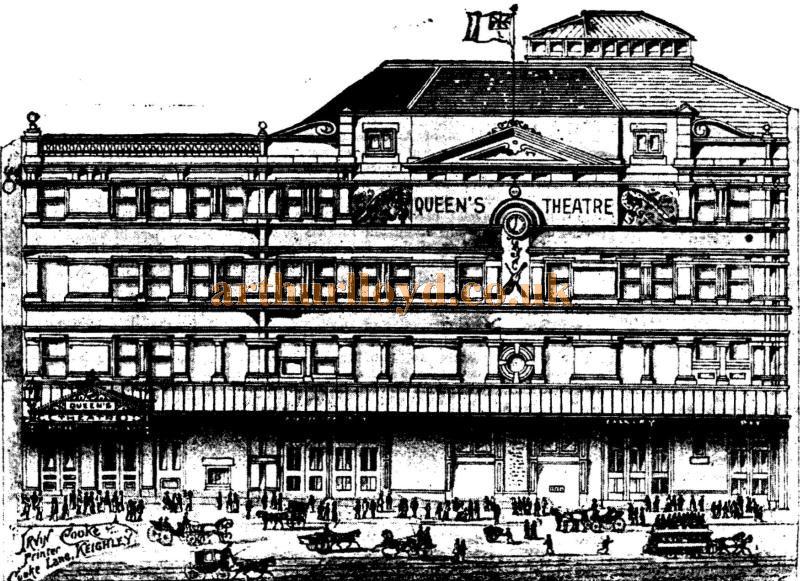 A Sketch of the Queen's Theatre, Keighley, Later the Hippodrome Theatre - From the ERA, 25 Nov 1899.