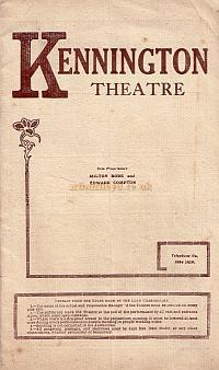 Programme for 'Monsieur Beaucaire' at the Kennington Theatre in 1914 - Click for details, including a Seating Plan, Taxis from the Theatre, and the Cast List.