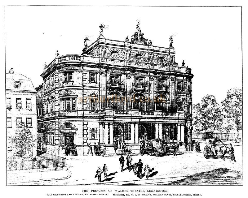 The Princess of Wales's Theatre, Kennington, later the Kennington Theatre - From a sketch in the ERA, 24th of December 1898 - To see more of these Sketches click here
