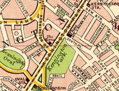 Section of the Pocket Atlas and Guide to London, 1900 J. Bartholomew, showing the site of the Kennington Theatre between De Laune Street and Kennington Park Road. - Click to Enlarge