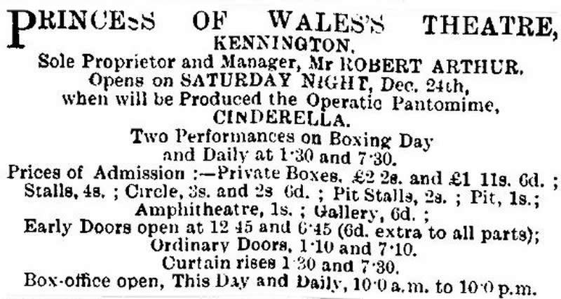 An advertisement for the opening of the Princess of Wales's Theatre, Kennington - The ERA, 24th of December 1898