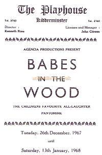 Programme for 'Babes in the Wood' in December 1967 / January 1968, one of the annual Pantomimes at the Playhouse Theatre, Kidderminster - Courtesy The Margaret & Brian Knight Collection.