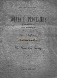 The Souvenir Programme Cover, celebrating five years of the Nonentities Society at the Playhouse Theatre, Kidderminster - Courtesy The Margaret & Brian Knight Collection.