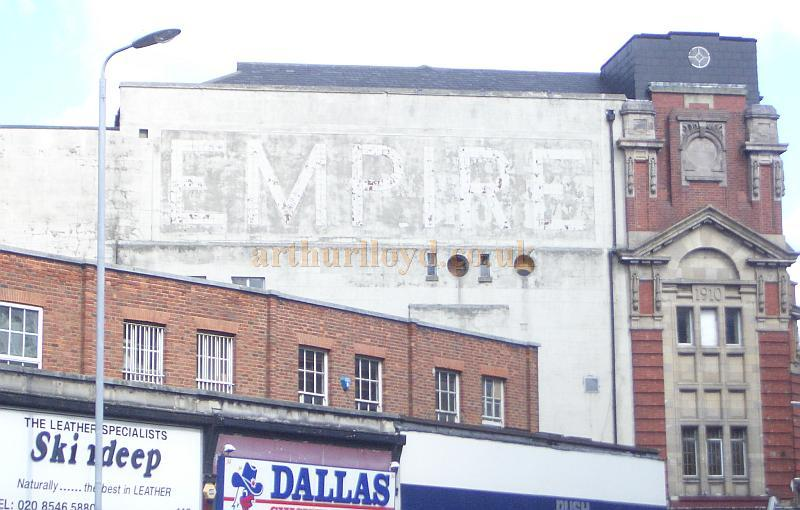 The side elevation of what remains of the Kingston Empire today. Note the Empire sign is still slightly visible although painted over, and the 1910 date on the side of the Theatre's Facade - Photo Courtesy Roger Fox