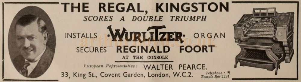 An advertisement from the Bioscope of April 1932 featuring the Wurlitzer Organ at the Regal, Kingston.
