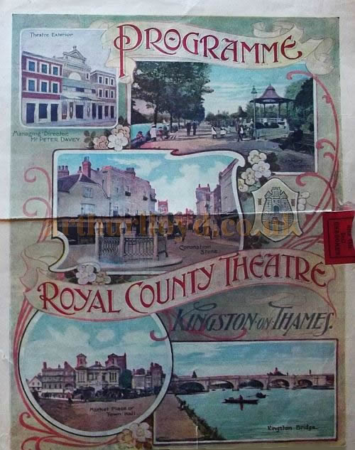 An illustrated Programme Cover for the Royal County Theatre, Kingston on Thames in 1911 - Courtesy Roy Cross.