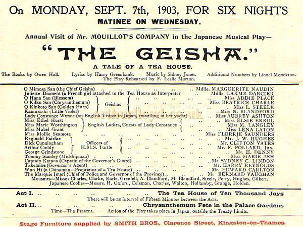 Programme for the Royal County Theatre, Kingston, with details for the week of September 7th 1903