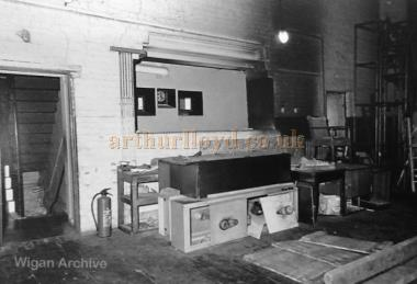 The Projection Box behind the Back wall of the stage of the Leigh Hippodrome - With kind permission Wigan Archive Services.