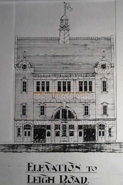 A sketch of the Elevation to Leigh Road of the Grand Theatre & Hippodrome, Leigh - Courtesy George Richmond, with kind permission The Leigh Local Studies Wigan Leisure and Culture Trust.