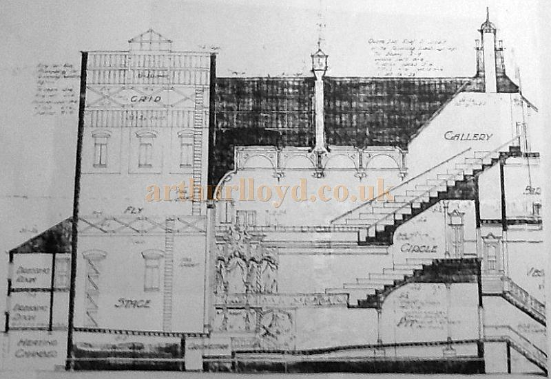 A Longitudinal Section of the Grand Theatre & Hippodrome, Leigh - Courtesy George Richmond, with kind permission The Leigh Local Studies Wigan Leisure and Culture Trust