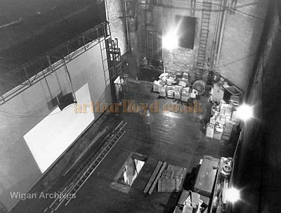 The Stage House of the Leigh Hippodrome showing the Cinema Screen at the front of the stage - With kind permission Wigan Archive Services.