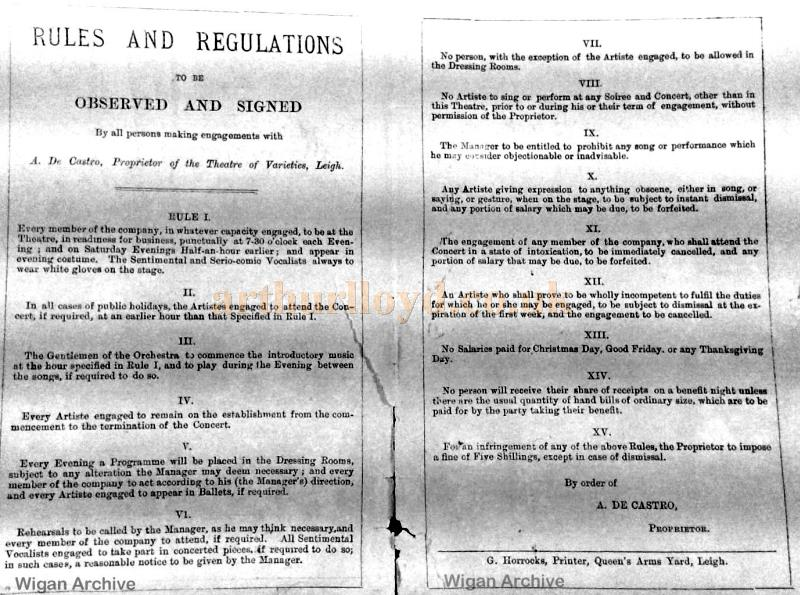Rules an Regulations for Artistes at De Castro's Theatre of Varieties, Leigh - With kind permission Wigan Archive Services.