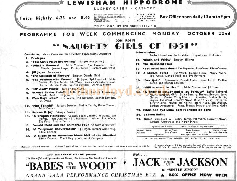 A Programme for 'Naughty Girls of 1951' at the Lewsisham Hippodrome - Courtesy Ian Barratt