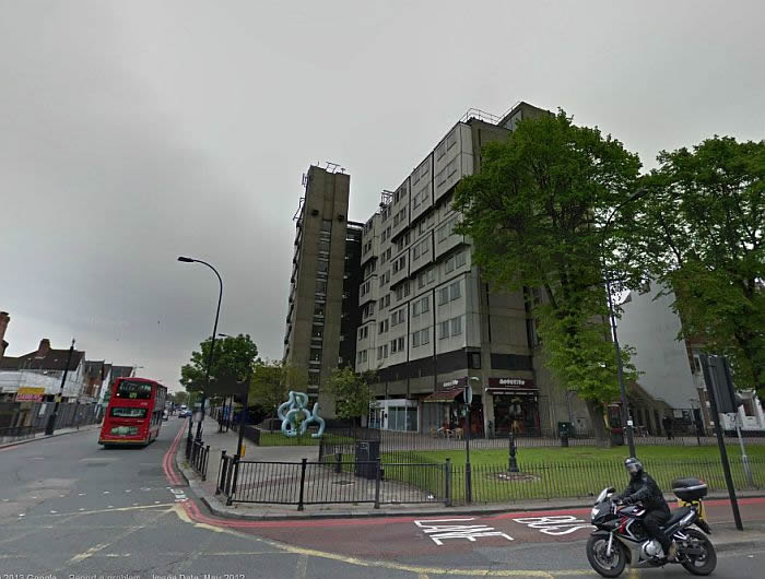 A Google StreetView Image of the site of the former Lewisham Hippodrome, now home to the Grade II Listed 'Brutalist' construction Eros House - Click to Interact