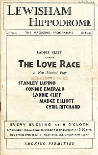 Lewisham Hippodrome programme for 'The Love Race' Jan 26th 1931