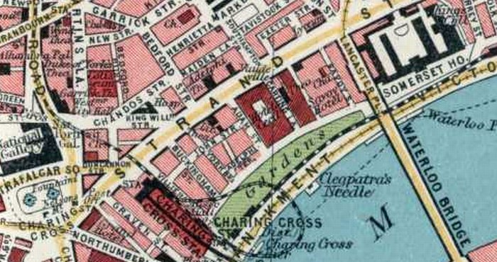A Section of Batholomews 1922 Map of London showing the position of the Little Theatre on John Street