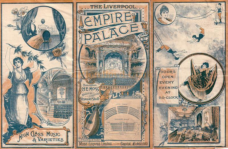 Variety Programme for the Empire Palace Theatre for the week of November 27th 1905. On the Bill were George Lashwood, Will Evans, Hanid Alexander, The Wedburns, The Bandurrias, Pat Carey, Billy Farrell, Fred Clements, O. G. Seymour, and the American Bioscope.
