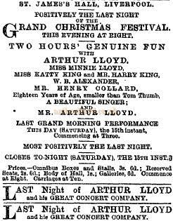 Notice for Arthur Lloyd and his 'Two Hours' Genuine Fun' at the St. James's Hall, Liverpool - From the Liverpool Mercury of 1870.