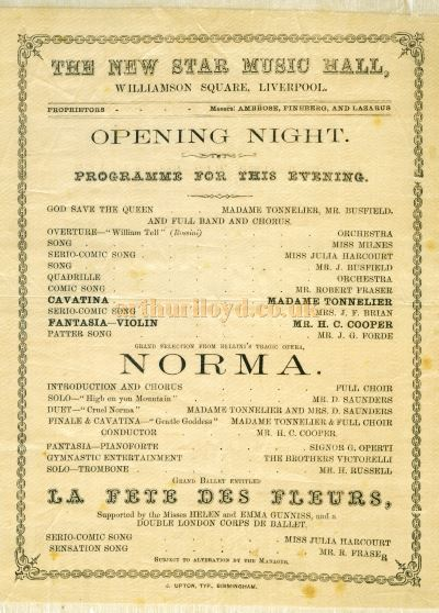 A programme, printed on silk, for the opening night of the Star Music Hall, Williamson Square, Liverpool on the 26th of December 1866 - Courtesy Carol Shone.