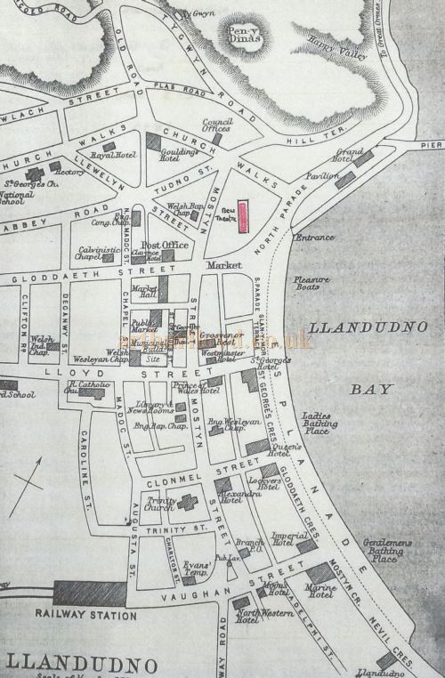 A Street Plane showing the location of the propose new Theatre - Courtesy Llandudno Library.