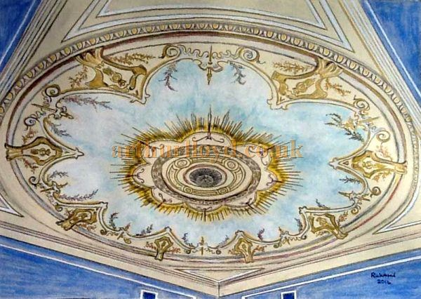 A Painting depicting the Saucer Dome at the Grand Theatre, Llandudno by, and courtesy of, George Richmond 2014.