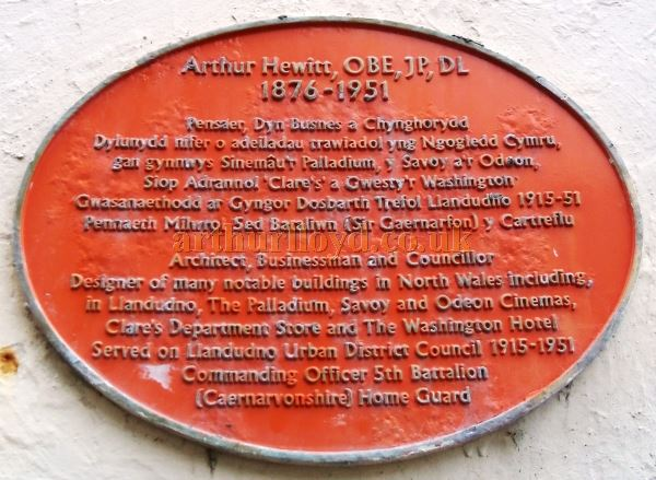 An August 2017 photograph of a Plaque which is situated on the exterior of the former Palladium Theatre commemorating Arthur Hewitt OBE, architect of the Theatre - Courtesy Alfred Mason.